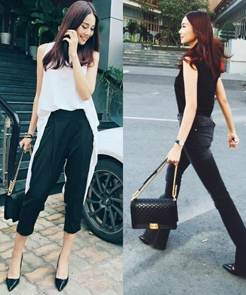 """<p class=""""Normal""""> Giám khảo Vietnam's Next Top Model 2015 Thanh Hằng trung thành với phong cách đơn giản, năng động. Cùng một kiểu giày cao gót cổ điển, cô tạo ra hai bộ đồ khác biệt. Váy suông dài biến thành áo, sơ vin với quần lửng. Bộ còn lại là quần ống vẩy mặc cùng áo sát nách theo phong cách thập niên cũ.</p>"""