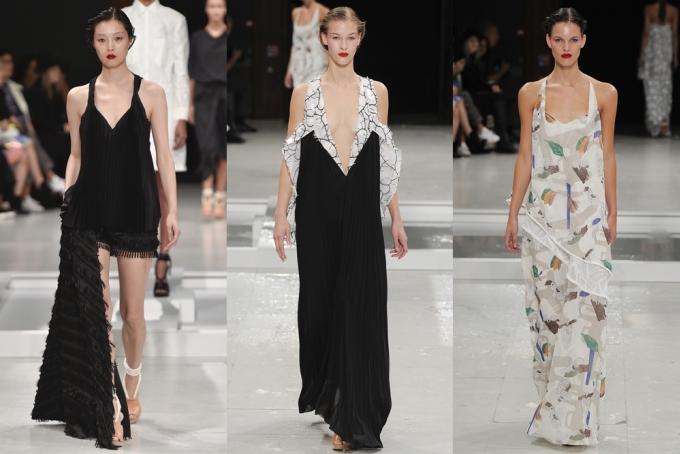 """<p class=""""Normal""""> Bất đối xứng được thể hiện sắc sảo trong một thiết kế váy đen có một bên tà dài chấm gót (trái).</p>"""