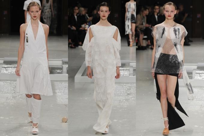"""<p class=""""Normal""""> Chalayan còn gây ấn tượng bằng váy xẻ ngực chữ V được phối với quần rách gối, tạo nên bộ trang phục phá cách (trái).</p>"""