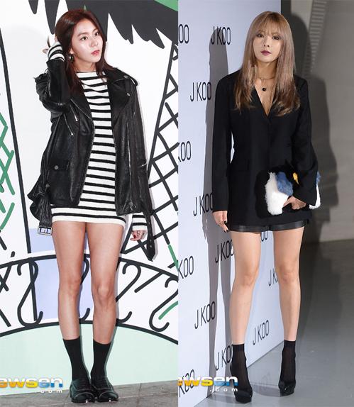 <p> Xu hướng mặc ngắn được nhiều người đẹp lăng xê tại tuần thời trang. Trong ảnh là UEE (trái) và HyunA.</p>