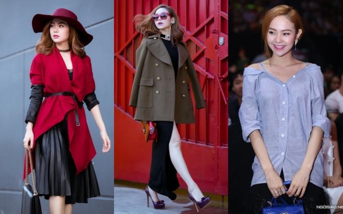 """<p class=""""Normal""""> Từ đầu năm 2015, nhờ có stylist riêng, Minh Hằng đổi gu thời trang đáng kể. So với 11 năm trước, cô dần ổn định hơn về phong cách. Tuy nhiên, có thời điểm rời người tư vấn, Minh Hằng lại bị chê mặc xấu (phải).</p>"""
