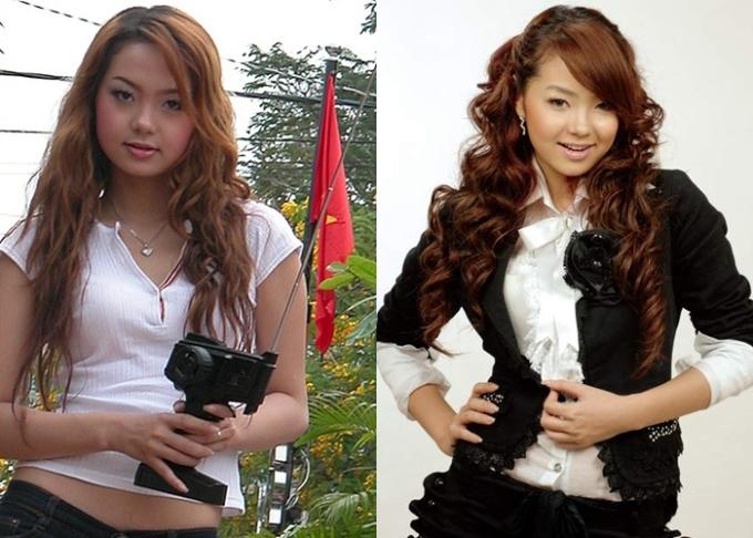 """<p class=""""Normal""""> Hình ảnh Minh Hằng năm 2007 để lại dấu ấn với gương mặt tròn, đáng yêu, nhưng kiểu tóc xoăn và thời trang bèo nhún khiến cô bị chê già.</p>"""