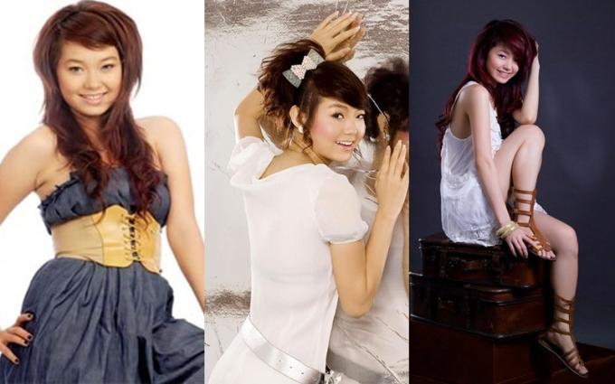 """<p class=""""Normal""""> Năm 2008, người đẹp định hình phong cách nhí nhảnh. Cô thường mặc váy ngắn, để kiểu đầu sư tử - mốt tóc thời bấy giờ. Đôi khi, Minh Hằng đeo bờm, nơ điệu đàng.</p>"""