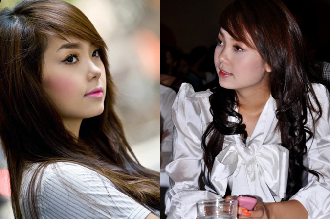 """<p> Năm 2009, Minh Hằng thay đổi cách trang điểm. Tông hồng kẹo ngọt giúp gương mặt cô trẻ trung hơn, đúng lứa tuổi. Tuy nhiên, cách diện đồ của cô vẫn bị xếp vào hàng """"thảm họa"""".</p>"""