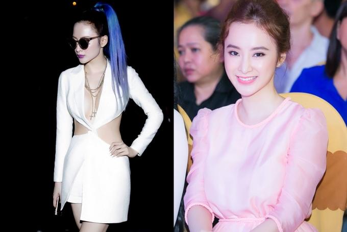 """<p class=""""Normal""""> Nửa đầu năm nay (trái), Angela Phương Trinh vẫn trung thành với phong cách gợi cảm có phần nổi loạn. Sau đó, người đẹp dần chuyển hướng sang cách mặc đồ kín đáo, chững chạc hơn.</p>"""