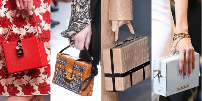 """<p class=""""Normal""""> Sự lên ngôi của dòng túi này trong năm 2015 được cho là nhờ sự trỗi dậy của phong cách thời trang cổ điển thập niên 1970. Tuy nhiên, với nhiều thiết kế và cách tân đa dạng, món phụ kiện có thể dùng làm điểm nhấn cho những set đồ dạo phố mang phong cách hiện đại.</p> <p class=""""Normal""""> <span>Những tên tuổi lớn như Dolce & Gabbana, Alexander McQueen, Louis Vuitton hay Salvatore Ferragamo... tung ra nhiều kiểu túi hộp nhỏ với những chủ đề khác nhau để đáp ứng mong muốn của các tín đồ. Nếu Dolce & Gabbana trang trí hoa văn cầu kỳ, tỉ mỉ lên túi giống những hộp trang sức thì Alexander McQueen hay Lanvin chỉ bọc túi bằng da rắn màu trơn tối giản, làm nên phong cách hiện đại.</span></p>"""