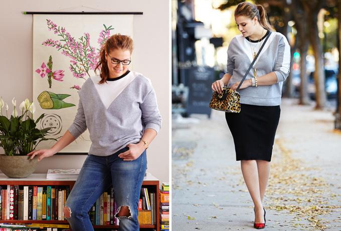 """<p class=""""Normal""""> Áo nỉ chui cổ dễ phối đồ cả khi ở nhà hay ngoài phố. Nhưng nếu muốn thanh lịch hơn, hãy kết hợp với trang phục được may đo tôn dáng như váy bút chì, quần jeans skinny và áo khoác dáng đứng. Thêm phụ kiện như túi xách da báo hay giày màu neon sẽ giúp bạn trông sành điệu.</p>"""