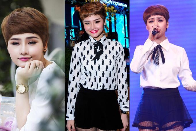 <p> Năm 2013, cô gái sinh năm 1991 tiếp tục thay đổi ngoại hình với mái tóc tém. Miu Lê thường chọn váy ngắn, áo sơ mi điệu đà để khoe vẻ quyến rũ. Cách trang điểm nhấn vào đôi môi.</p>
