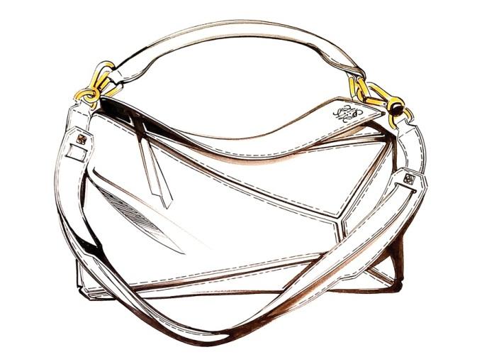 """<p class=""""Normal""""> Túi Puzzle của Loewe - nhà mốt cao cấp Tây Ban Nha - là một trong những chiếc <a href=""""https://vnexpress.net/giai-tri/photo/lang-mot/10-mau-tui-duoc-du-bao-gay-sot-trong-nam-2015-3134588.html"""">túi gây sốt</a> trên đường phố 2015. Với phiên bản màu hồng nữ tính, Puzzle tiếp tục được lòng nhiều tín đồ thời trang năm nay. Ý tưởng về chiếc túi Puzzle nảy lên trong đầu nhà thiết kế Jonathan Anderson tình cờ. Ông tìm thấy trong kho lưu trữ của studio chiếc túi giả da cũ bị mục nát. Nhưng Anderson không nhìn vào sự tồi tàn của nó mà lại để ý đến thân túi có những đường da nứt theo phong cách lập thể lạ mắt. Ông nói với người trợ lý: """"Đây sẽ là chiếc túi thời thượng mới!"""".</p>"""
