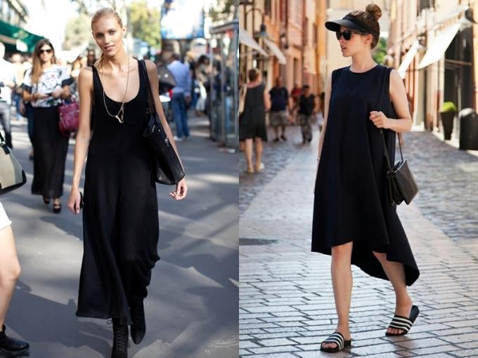 """<p class=""""Normal""""> <strong>Mặc màu đen vào mùa hè</strong></p> <p class=""""Normal""""> Quan niệm trước đây cho rằng không nên mặc trang phục đen vào mùa hè vì sẽ hút nắng và khiến người mặc nóng hơn. Lý do này vẫn hợp lý nhưng các nhà thiết kế đã tìm được hướng giải quyết thời trang hơn. Những thiết kế mát mẻ như váy ngủ (slipdress), váy cut-out đi cùng chất liệu thoáng mát và bay bổng như ren, voan, chiffon... sẽ giúp các tín đồ không còn lo ngại về vấn đề nóng bức.</p>"""