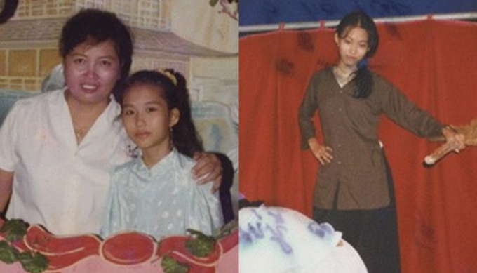"""<p class=""""Normal""""> Phi Thanh Vân sinh năm 1982 tại Hà Nội. Năm 1990, gia đình cô chuyển vào Sài Gòn. Bức ảnh năm 1993 (trái) và 1996 cho thấy Phi Thanh Vân vốn có nước da ngăm, gương mặt trái xoan.</p>"""