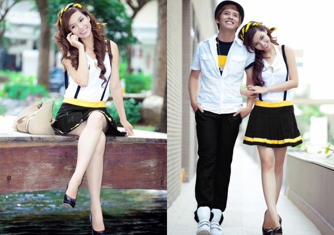 """<p class=""""Normal""""> Năm 2010, Quỳnh Chi để mái tóc dài uốn xoăn khá hot thời bấy giờ. MC hướng đến hình ảnh trẻ trung với áo sơ mi, váy ngắn.</p>"""
