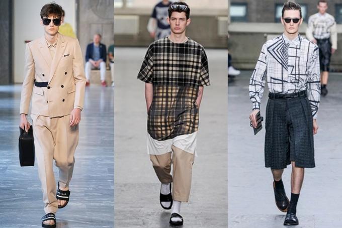 """<p class=""""Normal""""> Năm ngoái, tại Tuần thời trang Milan, Andrea Pompilio gợi ý các chàng trai phối dép lê với suit (trái) trong mùa Xuân Hè, còn Shaun Samson (giữa), Phillip Lim, Mugler... lăng xê dép lê với quần áo cắt cúp suông rộng.</p>"""