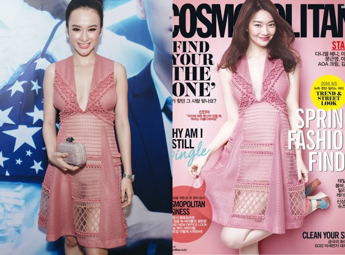 """<p class=""""Normal""""> Angela Phương Trinh và Shin Min Ah cùng chọn váy hồng xuyên thấu gợi cảm. Song vòng một nhỏ nhắn giúp nữ diễn viên Hàn Quốc mặc thiết kế xẻ ngực tinh tế hơn.</p>"""