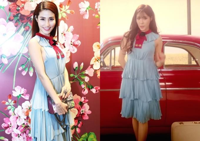 """<p class=""""Normal""""> Cả Diễm My 9X và Tiffany của SNSD đều chọn váy không phù hợp với vóc dáng. Thiết kế bằng lụa mỏng manh, xếp tầng của Gucci khiến hai người đẹp bị tăng cân ảo. Thậm chí, nữ ca sĩ Hàn còn lộ nhược điểm vai thô, trong khi đó, Diễm My bị lộ phần khoét nách vì ngực lớn.</p>"""