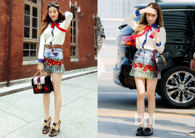"""<p class=""""Normal""""> Hồ Ngọc Hà và Tiffany nhóm SNSD (phải) """"một chín một mười"""" về khả năng phối túi xách và giày đi kèm bộ cánh hàng hiệu.</p>"""