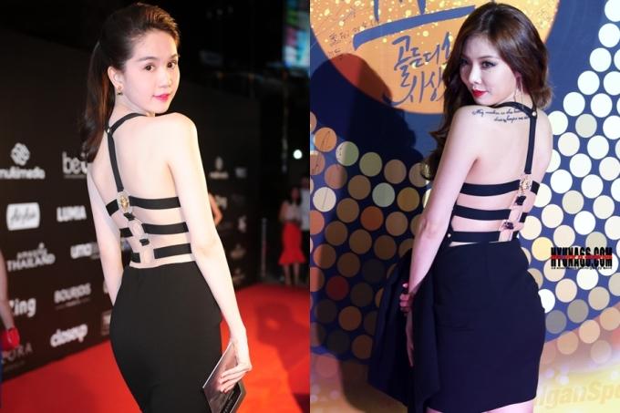 """<p class=""""Normal""""> Trước đây, Ngọc Trinh cũng từng """"đụng hàng"""" kiểu váy xẻ lưng với ca sĩ Hyun Ah nhóm 4minute. Thiết kế giúp cả hai khoe được tấm lưng đẹp.</p>"""