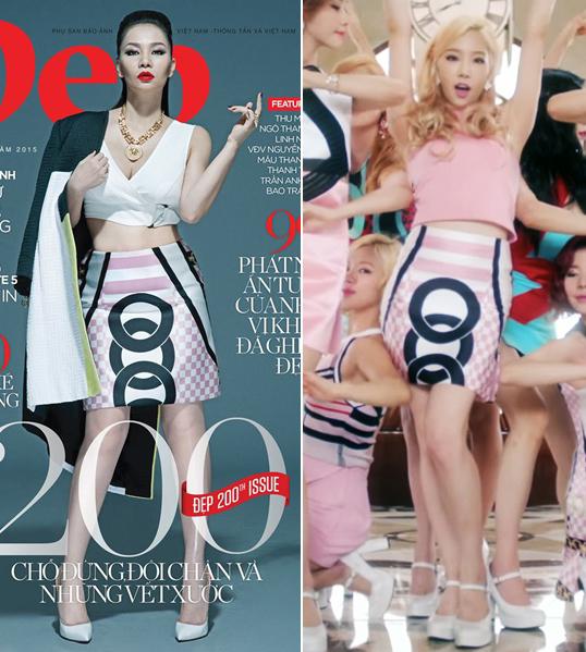 """<p class=""""Normal""""> Thu Minh và Taeyeon (phải) """"đụng"""" váy hiệu. Cả hai đều có cách phối trang phục hiệu quả. Thu Minh chọn bra-top trắng kèm dây chuyền còn ca sĩ Hàn chọn crop-top hồng phấn.</p>"""