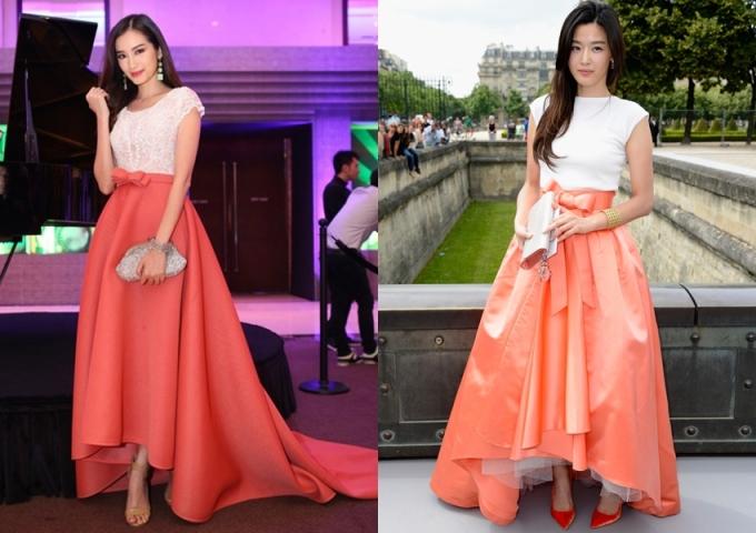 """<p class=""""Normal""""> Trúc Diễm từng bị nghi bắt chước """"Cô nàng ngổ ngáo"""" Jeon Ji Hyun (phải) từ kiểu áo đến váy. Nữ diễn viên Hàn ghi điểm bằng bộ Dior khi tham dự Paris Fashion Week còn Trúc Diễm yêu kiều với áo ren của Chung Thanh Phong và chân váy high-low.</p>"""