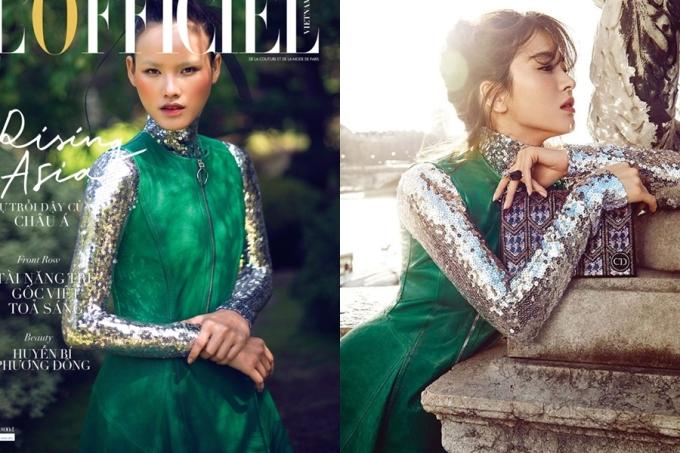 """<p class=""""Normal""""> Tuyết Lan chọn váy xanh kết hợp áo đính sequin khi chụp ảnh bìa cho một tạp chí. Mái tóc búi đỉnh đầu cùng tỷ lệ cơ thể cân đối giúp chân dài toát lên vẻ hài hòa, quyền lực. Trong trang phục y hệt, ngọc nữ của điện ảnh Hàn Song Hye Kyo (phải) lại chinh phục khán giả bằng vẻ đài các.</p>"""