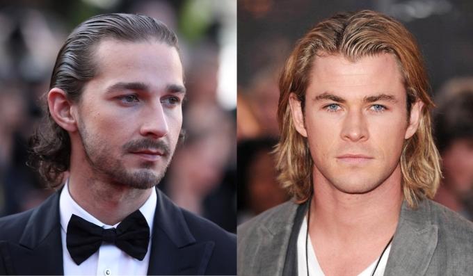 """<p class=""""Normal""""> Shia LaBeouf và Chris Hemsworth là fan của tóc dài vuốt ngược ra phía sau.</p>"""