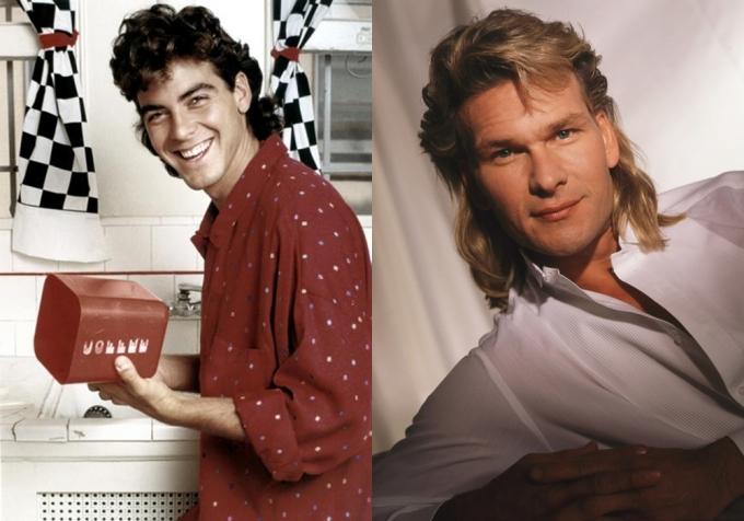 """<p class=""""Normal""""> Tài tử """"Oan hồn"""" Patrick Swayze (phải) và George Clooney một thời say mê tóc mullet.</p>"""