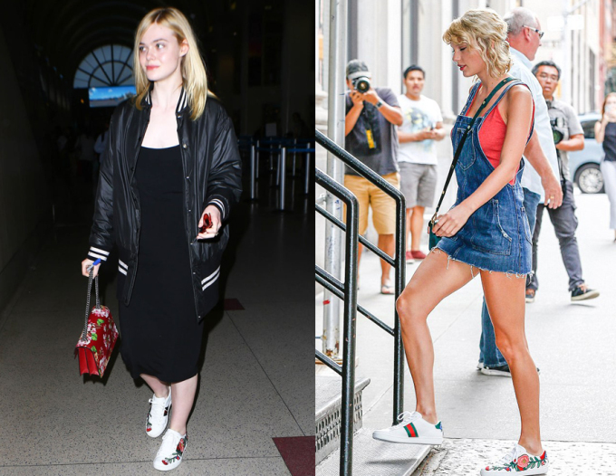 """<p class=""""Normal""""> Trong năm 2016, giày thêu hoa Gucci khuynh đảo đường phố khắp thế giới. Ell Fanning và Taylor Swift không bỏ qua mốt này.</p>"""