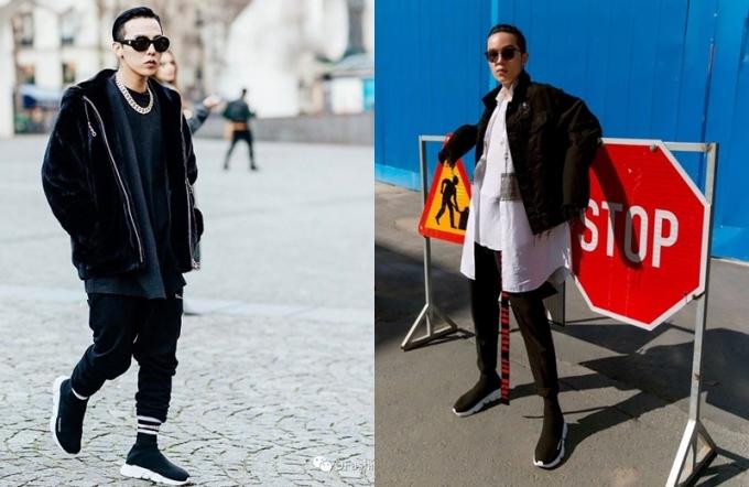 """<p class=""""Normal""""> G-Dragon (trái) và stylist Kelbin Lei là những tín đồ châu Á nhanh nhạy bắt kịp mốt giày gây sốt.</p>"""