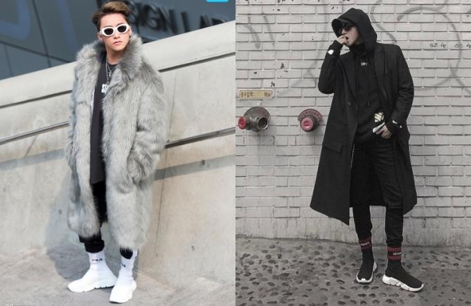 """<p class=""""Normal""""> Ở Seoul Fashion Week hồi tháng 3, Sơn Tùng M-TP tậu cả hai phiên bản giày Balenciaga.</p>"""