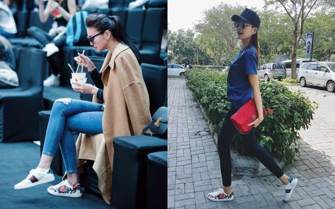 """<p class=""""Normal""""> Đầu năm nay, đôi sneakers này bùng nổ ở Việt Nam. Thanh Hằng (ảnh) có một đôi trong tủ đồ.</p> <p class=""""Normal""""> Đây cũng là một trong những mẫu giày được làm nhái khá nhiều tại các cửa hàng. Trên các khu mua sắm dành cho giới trẻ ở Hà Nội như Hàng Nón, Trần Quốc Toản, Phạm Ngọc Thạch hay chợ Nhà Xanh ở Cầu Giấy, khách hàng dễ dàng tìm thấy những đôi giày thêu hoa nhái Gucci với giá vài trăm nghìn đến một triệu đồng, tùy cấp độ làm giả.</p>"""