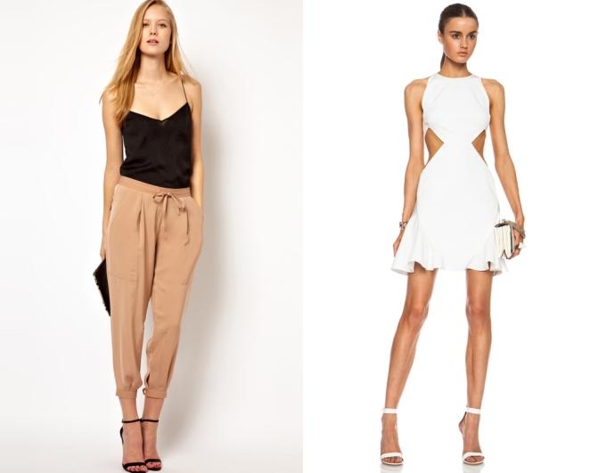 """<p class=""""Normal""""> Váy: Nên chọn váy cut-out hai bên eo để tạo eo giả, giúp cơ thể có đường cong.<br /> Quần: Nên chọn quần có ống thu nhỏ dần về phía cuối, giúp tạo cảm giác hông lớn hơn.</p>"""
