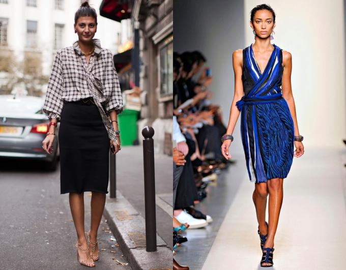 """<p class=""""Normal""""> Váy: Nếu là chân váy, hãy chọn chân váy bút bởi chúng có tác dụng làm giảm độ lớn của đùi. Với váy liền thân, nên chọn kiểu váy quấn có sọc dọc để làm nổi bật đường cong của cơ thể, cổ chữ V nhấn vào ưu thế vòng một đầy đặn.</p>"""