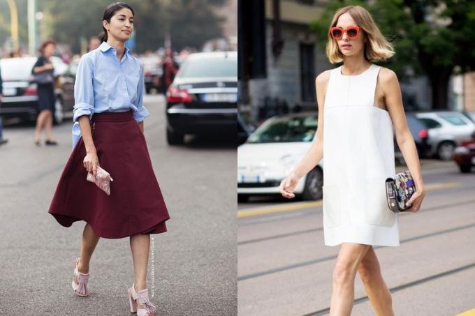 """<p class=""""Normal""""> Váy: Chân váy xòe có tác dụng làm tăng kích thước hông và đùi để cân đối với phần thân trên. Nếu là váy liền thân, hãy chọn váy suông để che toàn bộ sự chênh lệch về tỷ lệ cơ thể.</p>"""