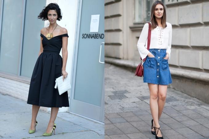 """<p class=""""Normal""""> Váy: Hãy chọn váy trễ vai, nếu có thêm sọc dọc thì càng tốt để tăng chiều dài cơ thể. Với chân váy, hãy chọn chân váy chữ A để giúp vòng eo có cảm giác nhỏ gọn so với phần hông.</p>"""
