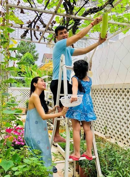 Thủy Tiên thường chia sẻ trên trang cá nhân hình ảnh cả gia đình cùng thu hoạch rau quảtrong mảnh vườn nhà.