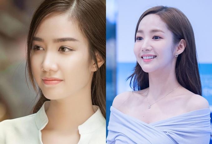 """<p> Gương mặt trái xoan và đôi mắt của Hồng Tuyết còn được khen giống người đẹp xứ Hàn <a href=""""https://giaitri.vnexpress.net/tin-tuc/gioi-sao/trong-nuoc/cac-thi-sinh-hoa-hau-viet-nam-giong-my-nhan-showbiz-viet-3786794.html"""" target=""""_blank"""">Park Min Young</a> (phải) - diễn viên chính trong bộ phim Thư ký Kim.</p>"""