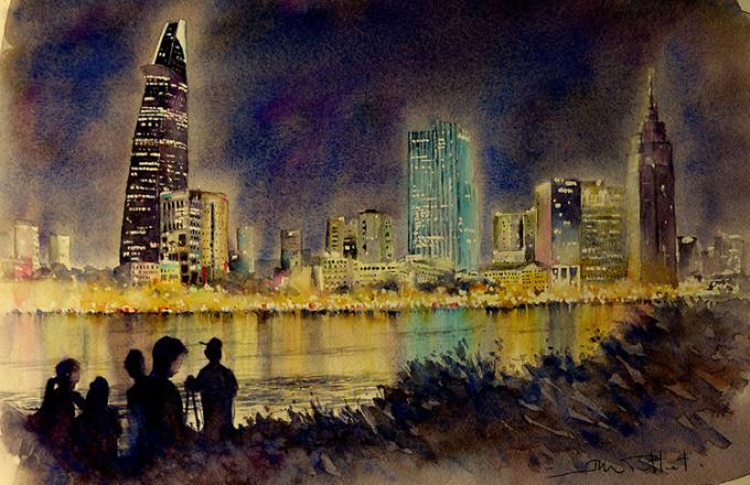 Tòa nhà Bitexco sáng rực trong đêm nhìn từ bờ sông quận hai.