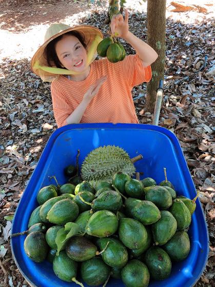 Lý Nhã Kỳ dành những ngày để chăm vườn, thu hoạch trái cây ở Long Khánh. Vườn nhà cô trồng gần 100 gốc sầu riêng trên 20 năm tuổi, giống Thái Lan, trung bình mỗi trái nặng tầm 7-10 kg, cho quả to, béo. Đang mùa sầu riêng nên mỗi sáng, cô đẩy xe lượm những trái đã rụng. Cô cho biết không đặt mục tiêu lợi nhuận nên không phun thuốc hay hái sớm mà để trái chín cây, rụng tự nhiên.