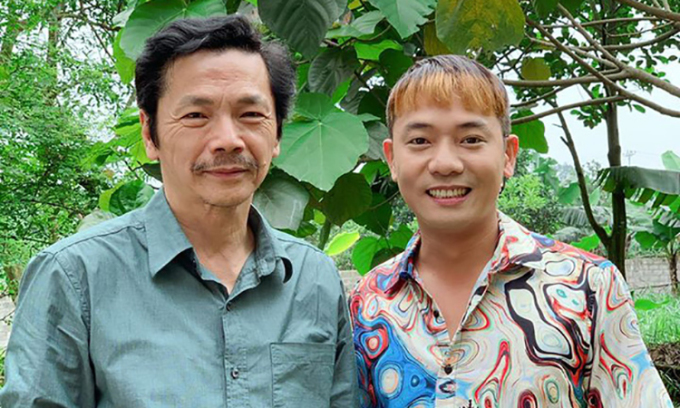 Nghệ sĩ Trung Anh (trái, vai ông Sơn) và Việt Bắc (vai Cân). Ảnh: Facebook.