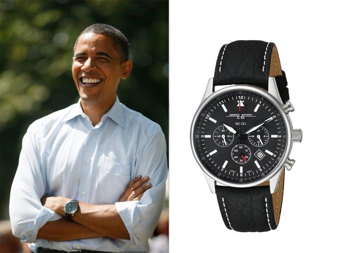 Trong chiến dịch tranh cử, Barack Obama thường đeo phụ kiện thạch anh màu trắng của hãng TAG Heuer (thuộc Series 1500). Mùa hè năm 2007, Obama bắt đầu đeo đồng hồ bấm giờ Jorg Grey lớn với mặt số màu đen. Đây là món quà của ba mật vụ tặng ông vào ngày sinh nhật, phần vỏ khắc con dấu mật vụ. Trong showEllenshow cùng năm, Obama làm rơi đồng hồ khi đấm vào bao cát hồng (tượng trưng cho bệnh ung thư vú). Ông nhanh chóng nhặt lên, bỏ vào túi. Đến năm 2015, Obama thay thế chiếc Jorg Grey bằng dòng Fitbit Surge. Sau khi hết nhiệm kỳ, cựu Tổng thống Mỹ đeo mẫu Rolex Cellini.