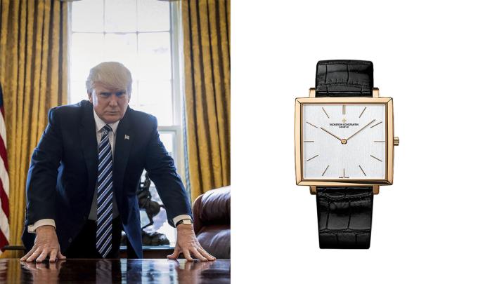 Donald Trump khá yêu thích chiếcđồng hồ Vacheron Constantin Historiques Ultra-fine 1968. Ông đeo nó trong nhiều dịp, bao gồm cảbuổi lễ nhậm chức. Historiques Ultra-Fine 1968 mangcỗ máy số hiệu 1120, thể hiện ý nghĩavề những cỗ máy siêu mỏng trên thế giới vào những năm 1960. Nó có giá 40.000 USD (hơn 900 triệu đồng).