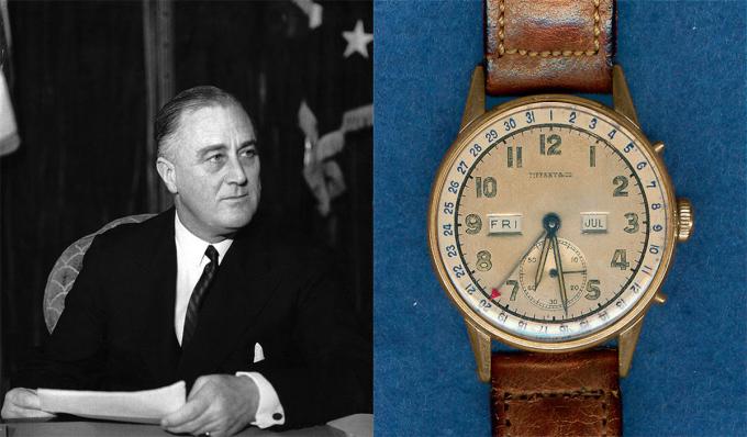 Chiếc Tiffany & Co. trang bị lịch tháng, sản xuất năm 1944 là món quà con rể tặng tổng thống Franklin Delano Roosevelt. Đồng hồ từng xuất hiện trên cổ tay Franklin tại Hội nghị Malta năm 1945 và đồng hành với ông trong những tháng cuối đời. Năm 2009, đồng hồ được đấu giá tại Antiquorum nhưng không bán được, hiện không rõ tung tích.