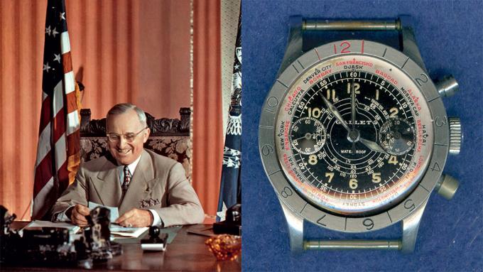 Harry S. Truman sở hữu một chiếc đồng hồ bấm giờ chống nước đầu tiên của Gallet Flying Officer (còn gọi là Flight Officer). Theo Hodinkee, đây là món quà của hai thượng nghị sỹ gửi tặng Truman vào năm 1939. Khung xoay đồng hồ có khả năng chỉ báo thời gian ở nhà và thành phố khác trên thế giới. Vài năm trước, mặt số đã được làm lại hoàn toàn, trên ảnh là nguyên bản đồng hồ chưa sửa đổi.