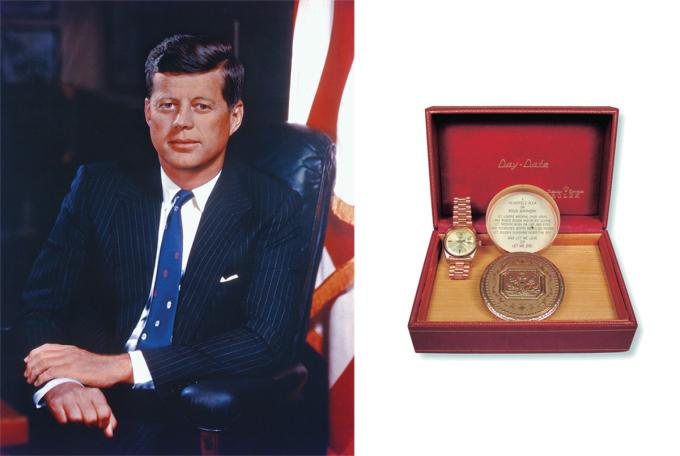 John F. Kennedy từng sở hữu loạt đồng hồ của Omega, Hamilton, Cartier. Tuy nhiên gây tranh cãi nhất là chiếc Rolex Day-Date được tặng bởi cô đào nổi tiếng Marilyn Monroe. Đồng hồ khắc dòng chữ Jack / Với tình yêu như mọi khi / từ / Marilyn / 29 tháng 5 năm 1962, kèm theo một bài thơ trong vỏ hộp. Theo Watchtime, Monroe cũng tặng một chiếc đồng hồ khác cho Kenneth ODonnell - phụ tá tổng thống. Khi nhìn thấy đồng hồ, Kennedy đã khuyên ODonnell bỏ nó đi, câu nói này được tái hiện trong tập 7 của miniseries The Kennedys, phân cảnh đối thoại giữa John F. Kennedy và Robert F. Kennedy. Năm 2005, đồng hồ được đấu giá bởi Alexander Autographs, nhà sưu tập East Coast đã mua lại với giá 120.000 USD.