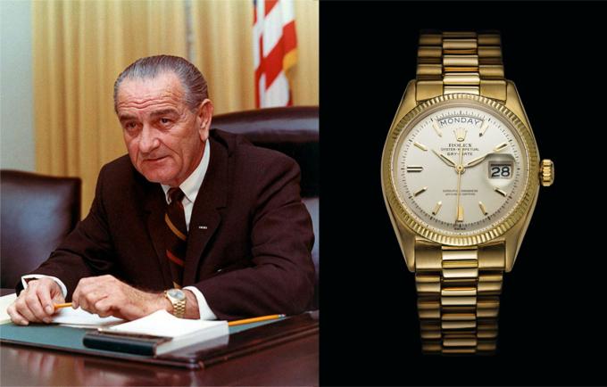 Lyndon Baines Johnson sở hữu một phiên bảnDay-Date– dòng đồng hồ có biệt danh President (tổng thống). Đồng hồ từng xuất hiện trên cổ tay Johnson khi làm việc tại Oval - văn phòng phía Tây Nhà Trắng. Hiện đồng hồ không rõ tung tích, trên ảnh là mẫu Day-Date đầu tiên ra mắt năm 1956. Trang Watchtime cho biết, trước khi chết Johnson đã tặng một chiếc Rolex vàng cho bác sĩ tim mạch J. Willis Hurst, trên đồng hồ khắc dòng chữ To JWH/Love LBJ. Trước đó, ông cũng từng tặng một chiếc Day-date cho cựu tổng thống Eisenhower.
