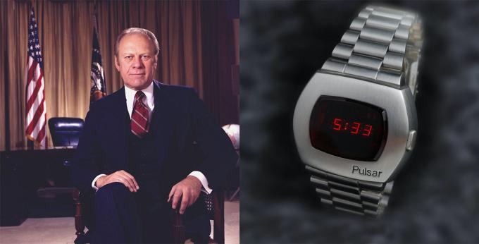 Giữa những năm 1970, đồng hồ kỹ thuật số trở thành cơn sốt, cạnh tranh với đồng hồ truyền thống. Tổng thống Gerald Ford nhanh chóng bắt kịp xu hướng, sở hữu một chiếcmàn hình đèn led Hamilton Pulsar (hiện thuộc sở hữu củaSeiko). Ông từng đeo cỗ máy này trong các phiên điều trần của Quốc hội về việc tha tội cho Richard Nixon năm 1974. Ford mê những chiếc Pulsar tới mức khi phiên bản mới tích hợp máy tính ra mắt, ông muốn vợ mình - bà Betty - mua tặng nhân dịp Giáng sinh năm 1974. Nhưng vợ ông đã từ chối, cho rằng giá 4.000 USD quá đắt.