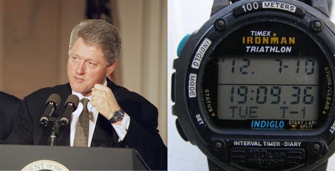 Kể từ khi Bill Clinton rời Nhà Trắng, ông để lộ thú vui sưu tầm đồng hồ với loạt thương hiệu xa xỉ như Panerai, Franck Muller, Roger Dubuis, Kobold Seal và Cartier. Tuy nhiên, trong chiến dịch tranh cử tổng thống và những năm đầu nhiệm kỳ, Clinton chỉ đeo một chiếc Timex Ironman Triathlon giá rẻ. Tờ Gene Weingarten miêu tả đồng hồ của Clinton là chiếc đồng hồ kỹ thuật số vỏ nhựa, dầy như cục gạch và đẹp như một kẻ bị thoát vị. Năm 1994, Clinton dự lễ kỷ niệm 50 năm ngày quân Đồng minh đổ bộ lên bãi biển Normandy tiêu diệt Đức Quốc xã. Tại đây hãng Lip của Pháp tặng ông một chiếc đồng hồ analog với dây đeo bằng da. Clinton đã đổi đồng hồ kể từ đó.