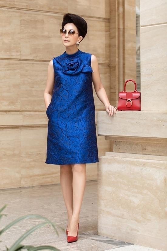 Diễm My diện mẫu váy 4,5 triệu đồng của Đỗ Mạnh Cường. Ảnh: Huy Nguyễn.
