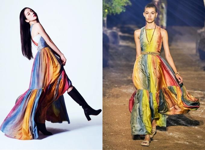 Jisoo tạo dáng trên Vogue với đầm bảy sắc cầu vồng, thuộc bộ sưu tập Xuân Hè 2020 của Dior, giá 6.900 USD (khoảng 160 triệu đồng). Thiết kế được nhiều mỹ nhân châu Á ưa chuộng như Han So Hee, Park Min Young, Angelababy, Trương Quân Ninh, Dung Tổ Nhi...