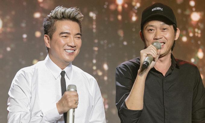 Hoài Linh (phải) và Đàm Vĩnh Hưng trong đêm nhạc